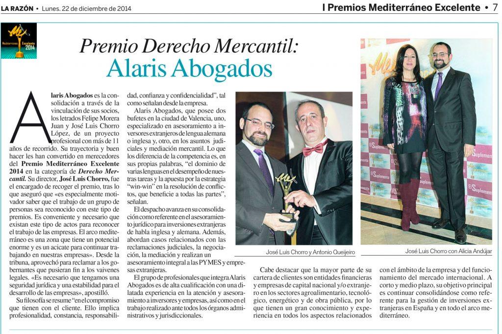 Recorte de prensa: El periódico La Razón dedica un artículo al premio recibido por Alaris Abogados en materia de Derecho Mercantil